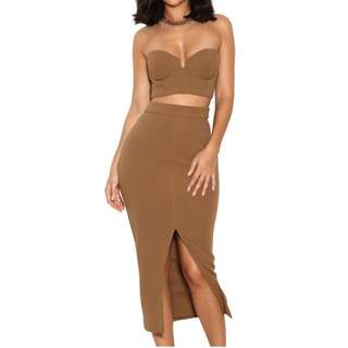 House Of CB Caspiana Camel Crepe Bustier Two Piece
