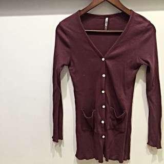 韓國 紅色V領針織防曬外套