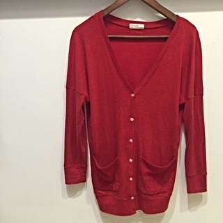 正韓 紅色v領針織外套