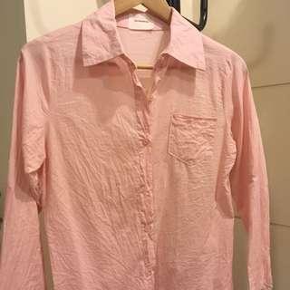 韓版 粉色襯衫