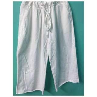 休閒白寬褲