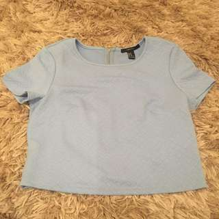 Light Blue Fancy Crop Top
