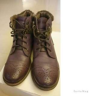 漸層紫 低跟短靴