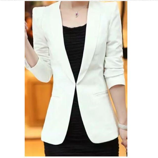 (免運)白色修身西裝外套