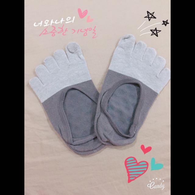 五趾竹碳防滑短襪