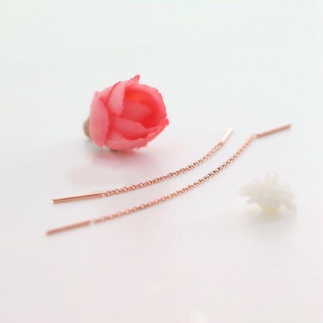 【A2】太陽的後裔 宋慧喬同款耳環-流蘇線條(玫瑰金)