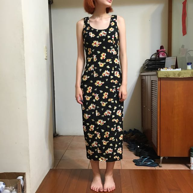 古著二手 小黃花合身洋裝