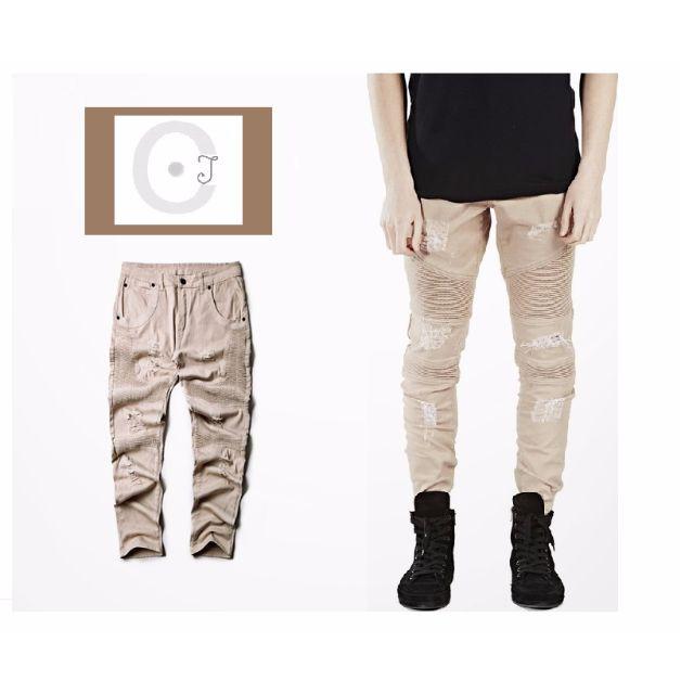 破壞牛仔褲 窄版牛仔褲 米色
