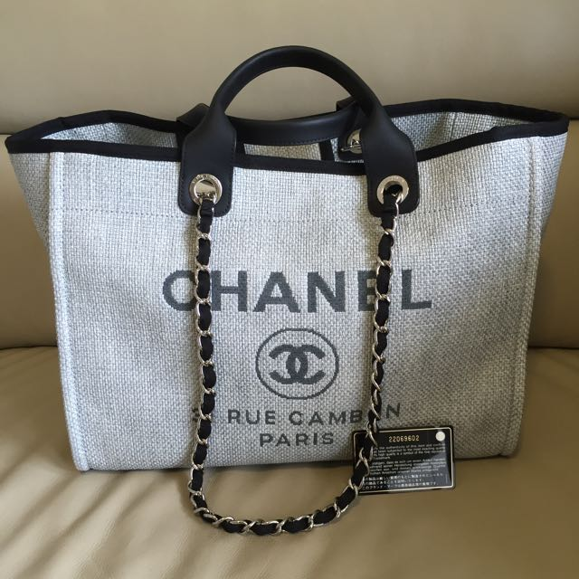 22fd4c5926f1 Chanel Deauville Tote Large Grey BNIB, Luxury on Carousell