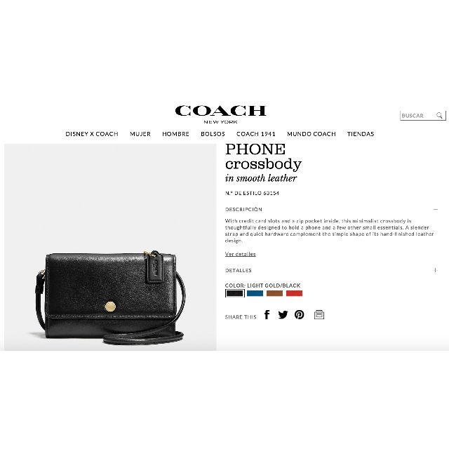 COACH PHONE crossbody 63154 black