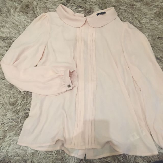 Cute Light Pink Button Up Collared Blouse
