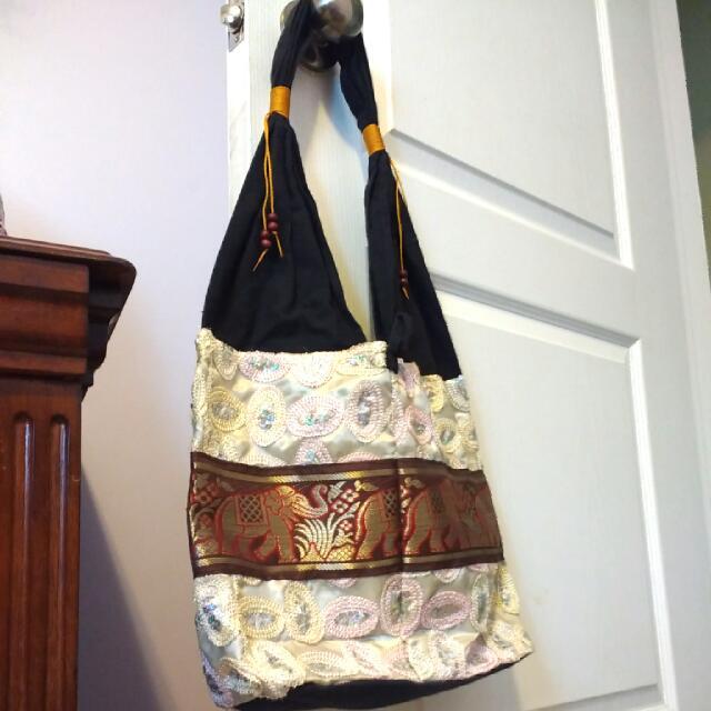 Elephant Print, Sequined Handbag