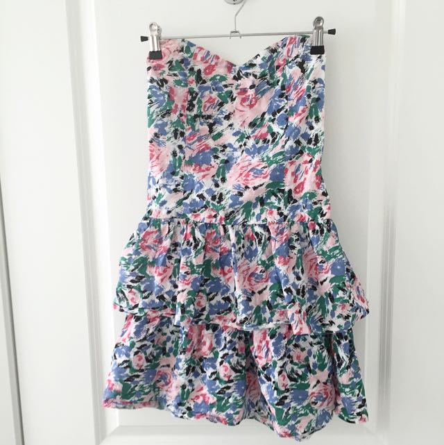 Floral Frill Strapless Dress