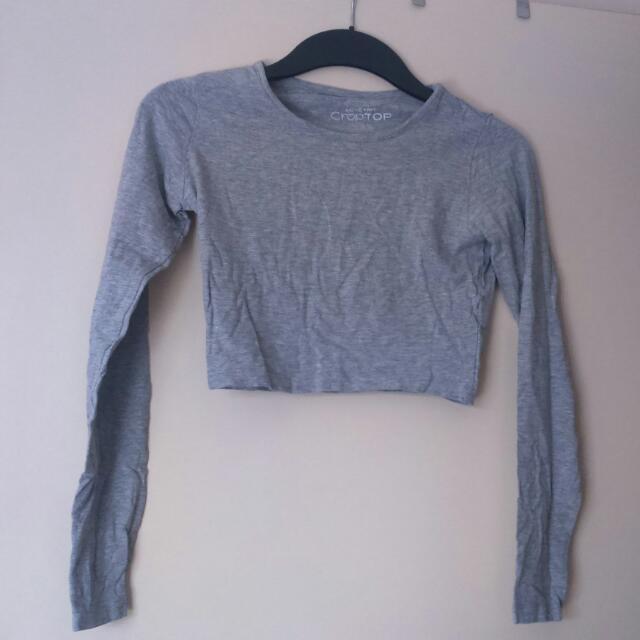 Grey Long Sleeved Crop Top