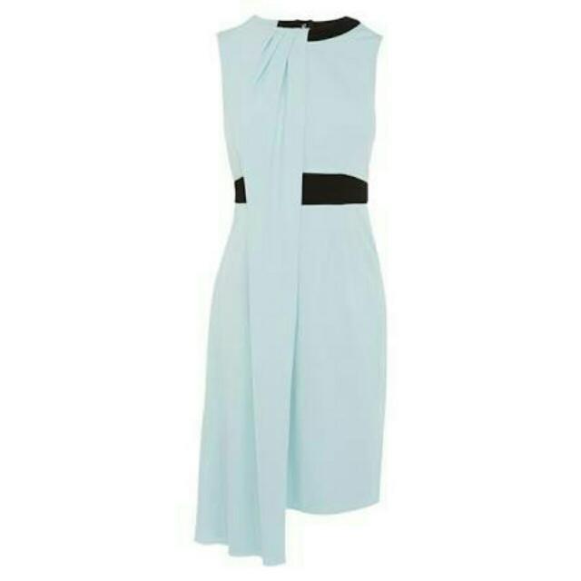 Karen Millen Draped Jersey Dress Pale Blue