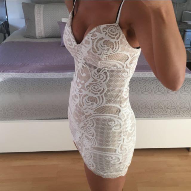Nude/White Lace Dress