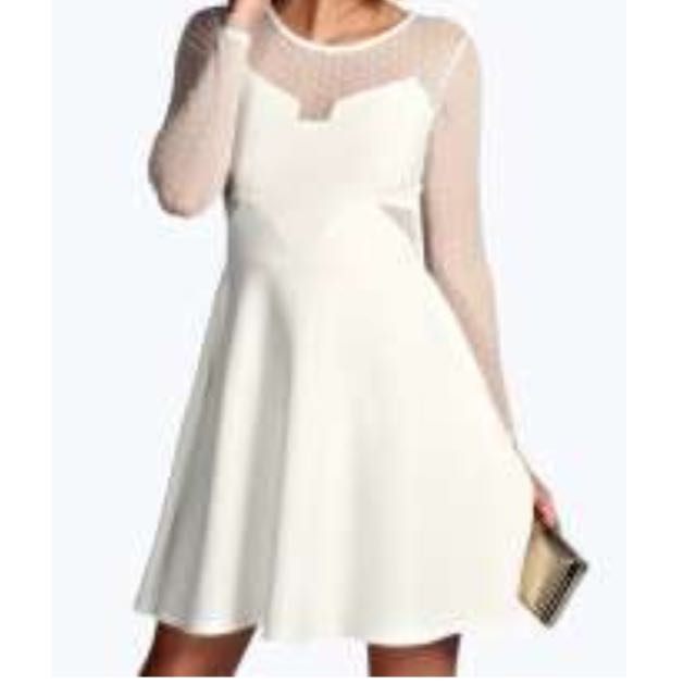 Long Sleeve Dot Mesh White Dress