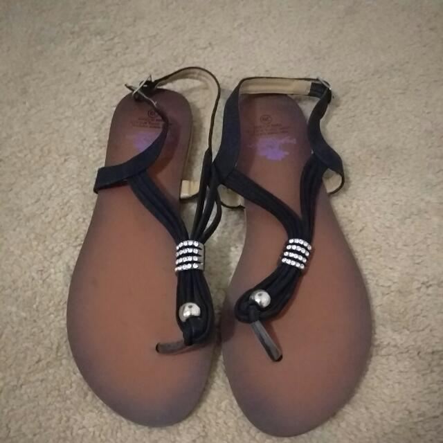 New Black & Diamond Sandals