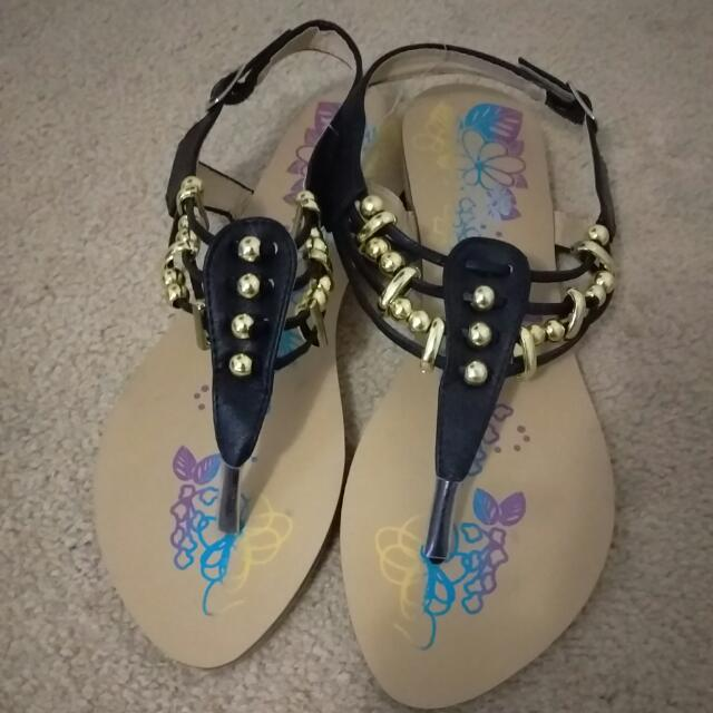 New Black & Gold Sandals