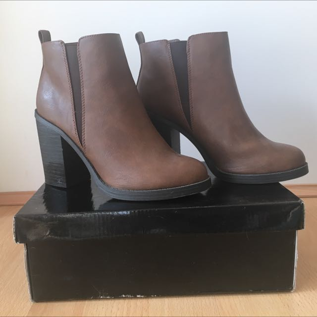 New Look Brown Heeled Ankle Boots