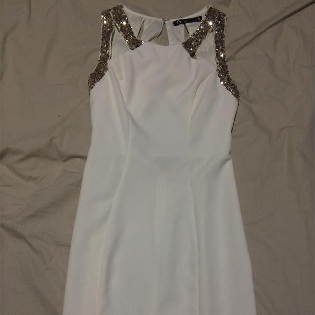 Off White Sequin Dress