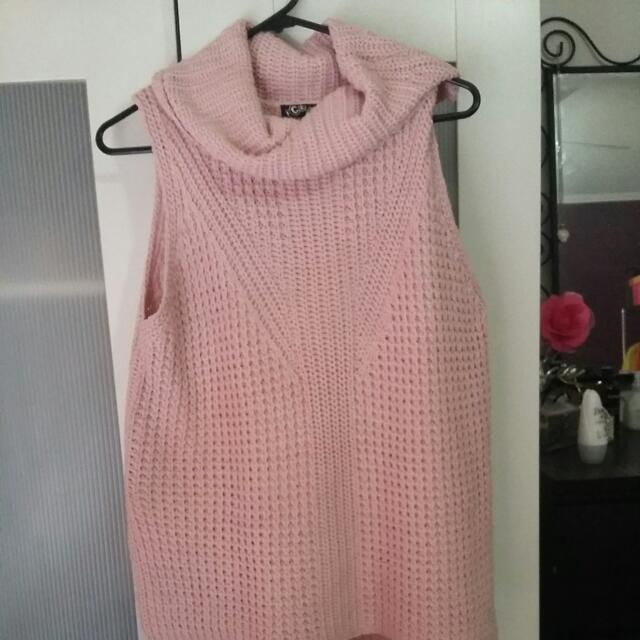 Pink Sleeveless Knit Top