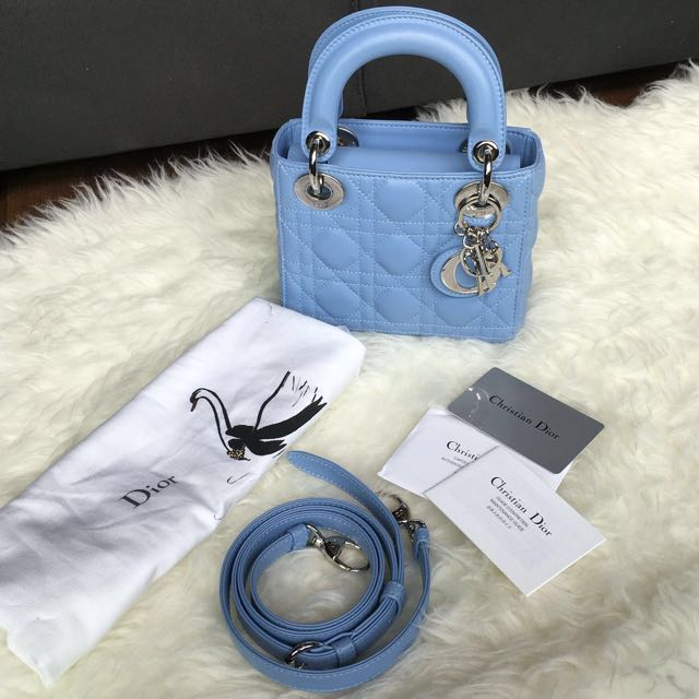 5ab4aaa54e 💎SOLD!💎 Almost New Small / Mini Lady Dior In Hydrangea Baby Blue Lambskin  and SHW, Luxury on Carousell