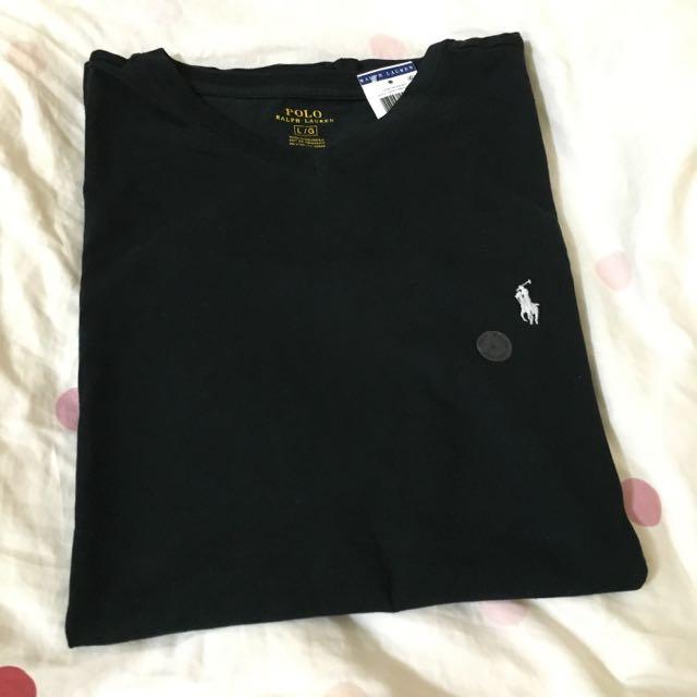 (現貨)全新美國購入Ralph Lauren 大馬男生logoT 黑色V領L號