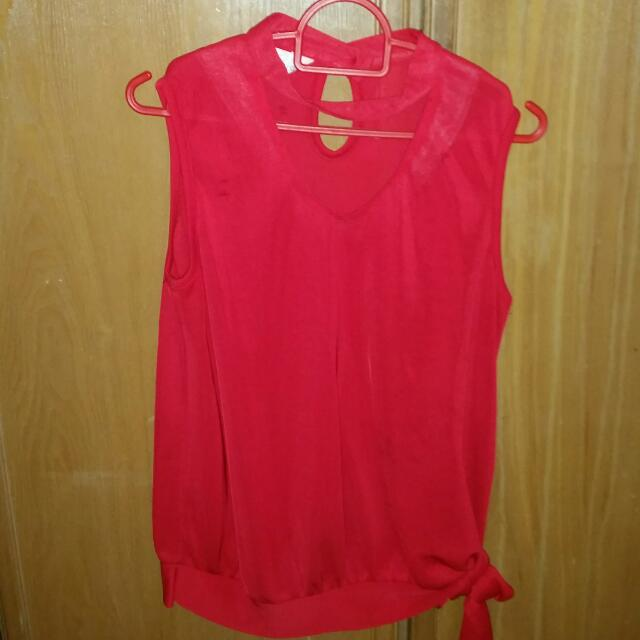 Red Sheer Sleeveless Top