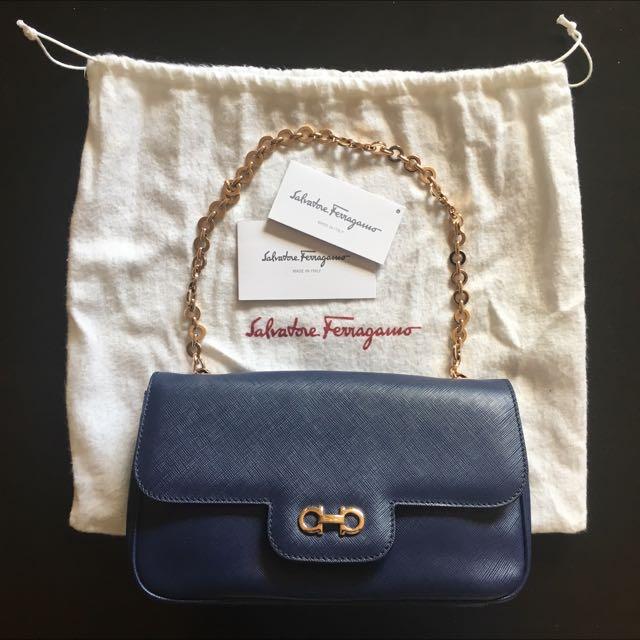 REDUCED!!! Salvatore Ferragamo Rory Chain-Strap Shoulder/Clutch Bag