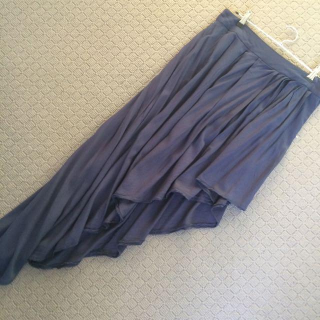 Size L - Navy Side Mullet Skirt