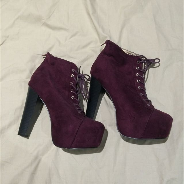 Suede Maroon Lace Up Heeled Boots