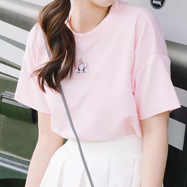 新款韓版學院風軟妹可愛貓咪刺繡圓領短袖T恤