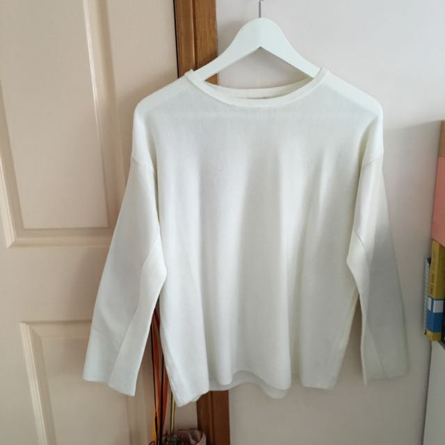 White Jumper With Leather Sleeves