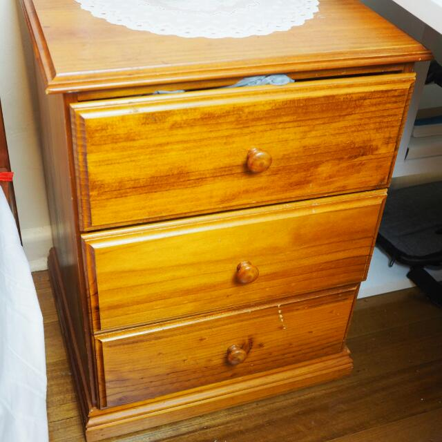 Wooden Bedside Table (2 Available)