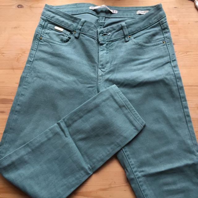 Zara Turquoise Jeans Size:34eu 6au