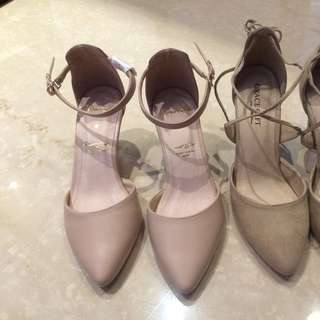 Grace gift 氣質尖頭踝帶中高跟鞋