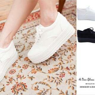(保留)白色厚底鞋 鬆糕鞋 增高鞋 小白鞋 5cm