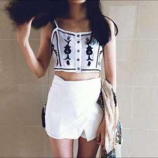 ✔️現貨✨高腰修身淨色基礎褲裙 白色