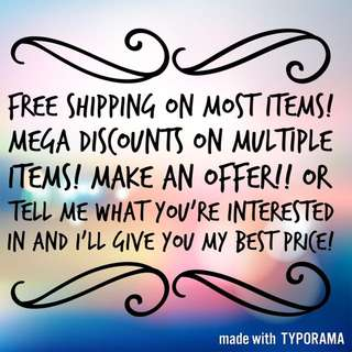 Free Shipping!!! Bundle Deals!! Make An Offer!!!