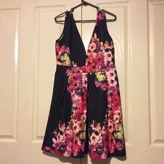 Boohoo Katie Floral Plunge Neck Skater Dress
