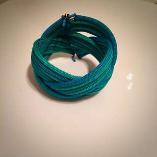 Blue Fabric Cuff Bracelet