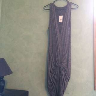 Size L - Grey V Neck Knotted Maxi Dress