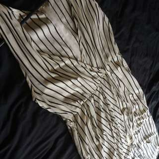 Size L - Stripe Open Front Maxi Dress