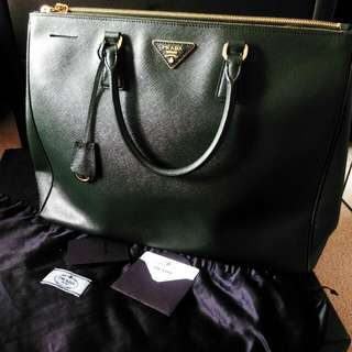 Prada: Saffiano Leather Lux Tote Double Zip Large
