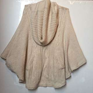 Oversize Roll Neck Knit Poncho