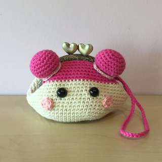 crocheted coin purse with pink haired doll's face (with desired name tag or short message tag)