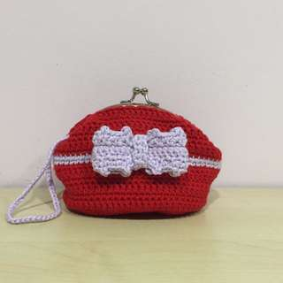 crocheted red coin purse with purple ribbon (with desired name tag or short message tag)
