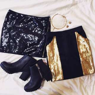 2x Bodycon Sequin Skirts