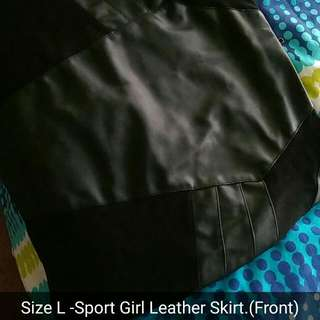 Sports Girl Black Leather Skirt Size L
